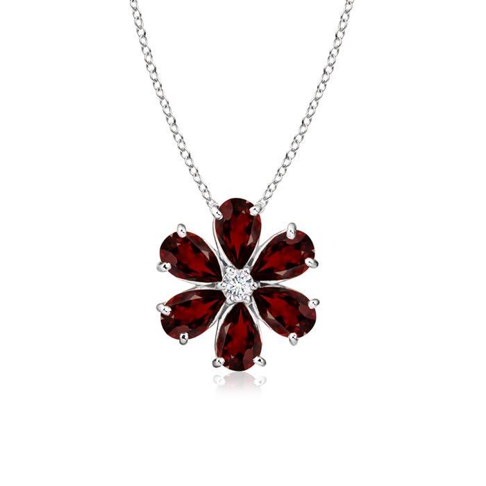 Prong-Set Cluster Garnet Flower Pendant with Diamond - Angara.com