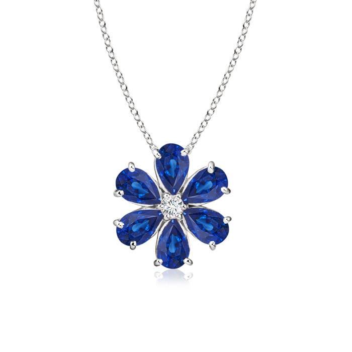 Prong-Set Cluster Blue Sapphire Flower Pendant with Diamond - Angara.com