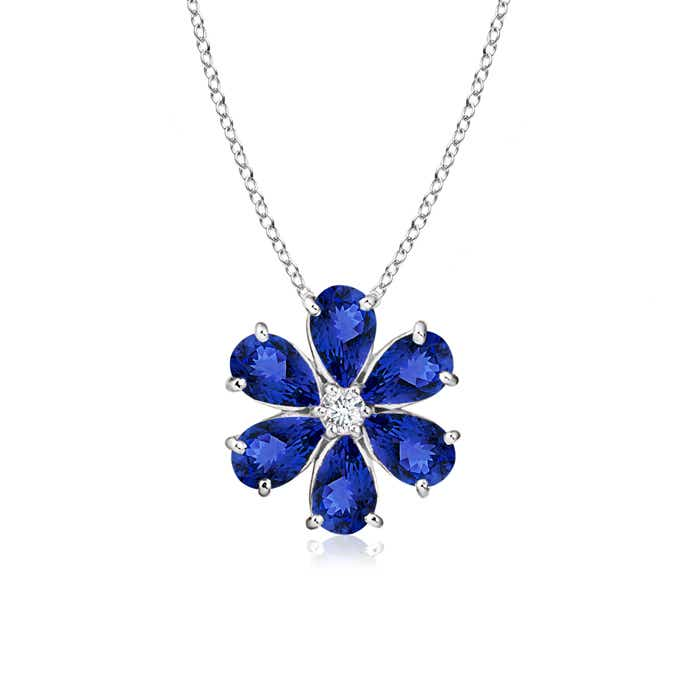 Prong-Set Cluster Tanzanite Flower Pendant with Diamond - Angara.com