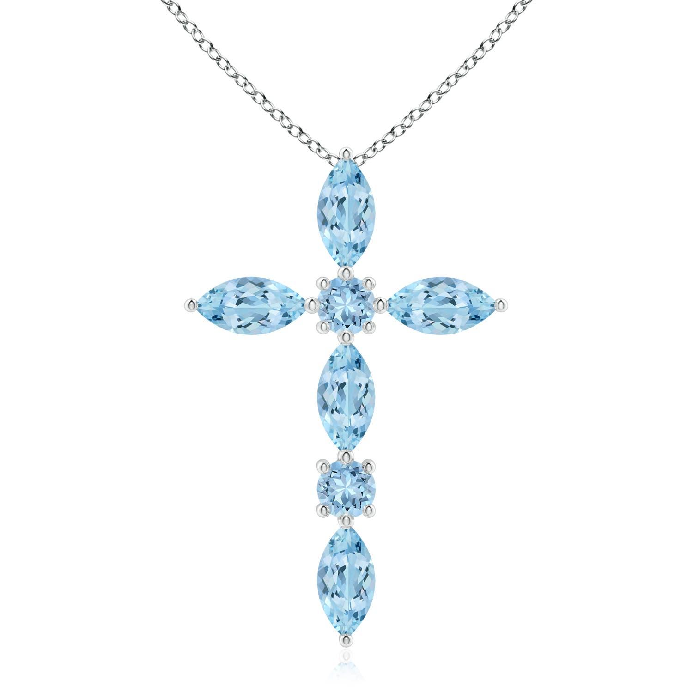 Marquise and Round Aquamarine Cross Pendant - Angara.com
