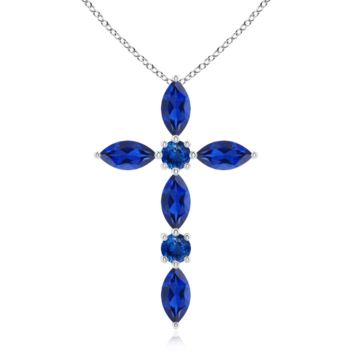 Marquise and Round Blue Sapphire Cross Pendant - Angara.com