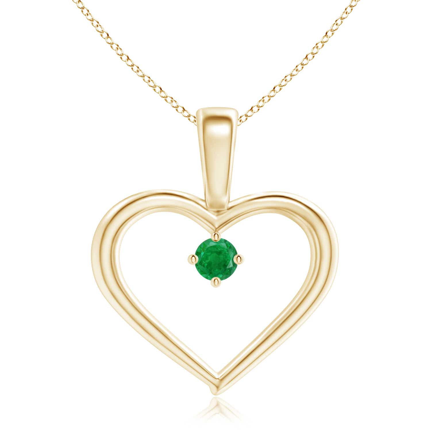 Solitaire round natural emerald heart pendant with 18 chain ebay solitaire round natural emerald heart pendant with 18 aloadofball Images