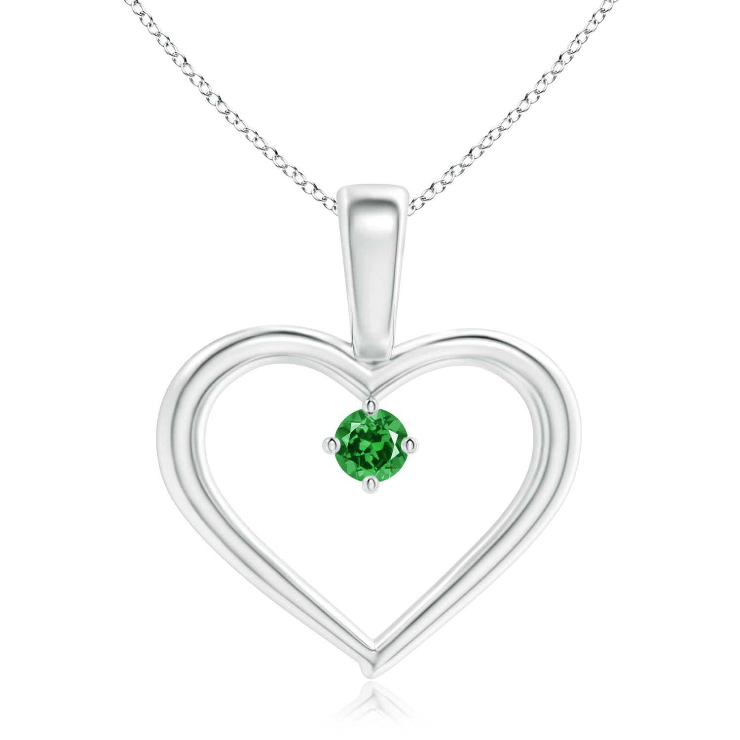 Solitaire Round Lab Created Emerald Open Heart Pendant with Prong Set - Angara.com
