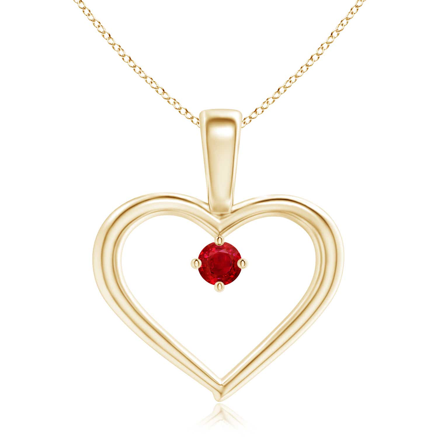 Solitaire Round Ruby Open Heart Pendant with Prong Set - Angara.com