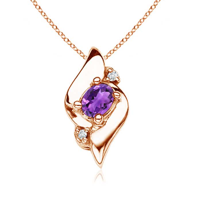 Shell Style Diamond and Oval Amethyst Pendant - Angara.com