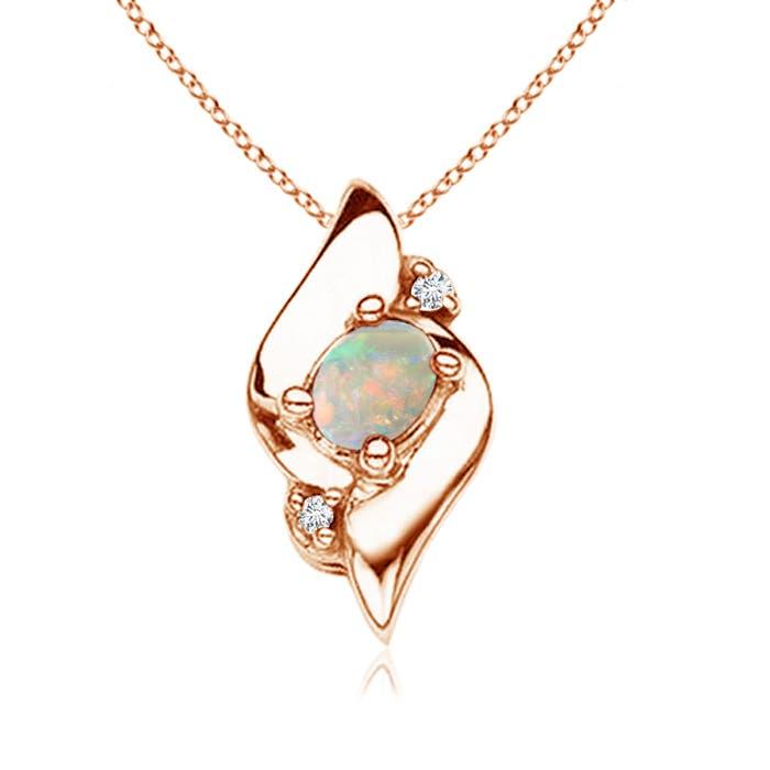 Shell Style Diamond and Oval Opal Pendant - Angara.com
