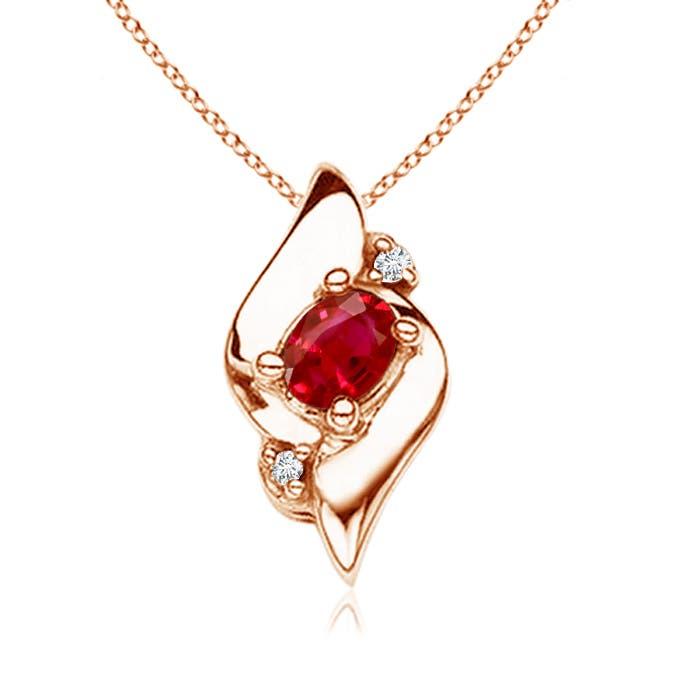 Shell Style Diamond and Oval Ruby Pendant - Angara.com