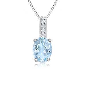 Angara Oval Aquamarine Solitaire Pendant with Diamond Bale TI4RToZU7