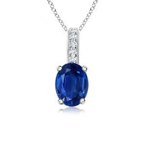 Solitaire Oval Blue Sapphire Pendant with Diamond Bail - Angara.com