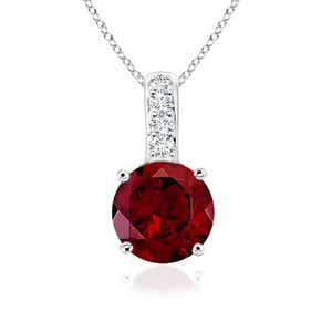 Solitaire Round Garnet Pendant with Diamond Bail - Angara.com