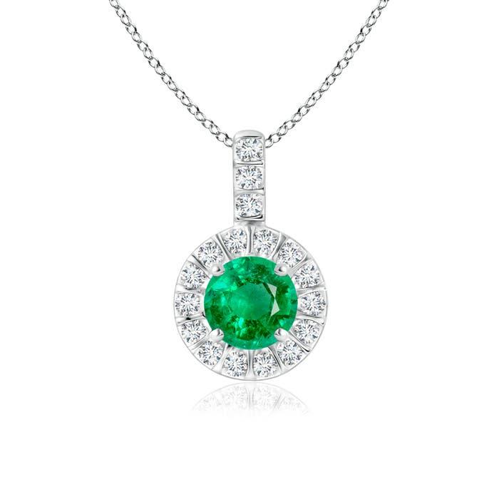 Vintage Emerald Halo Pendant with Diamond Bail - Angara.com