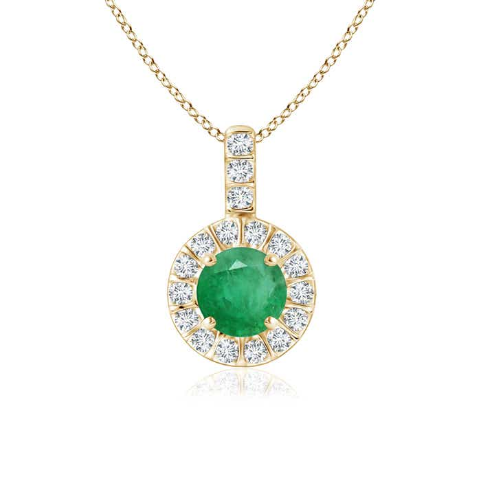 Angara Natural Emerald and Diamond Halo Vintage Necklace in 14k White Gold YjYCO5