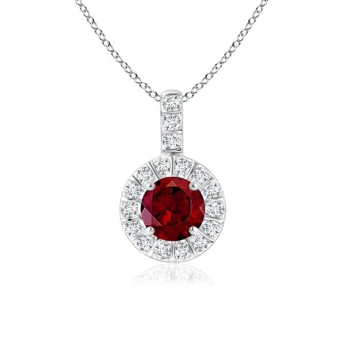 Angara Diamond Halo Garnet Drop Necklace in Platinum AzBzGR8FO
