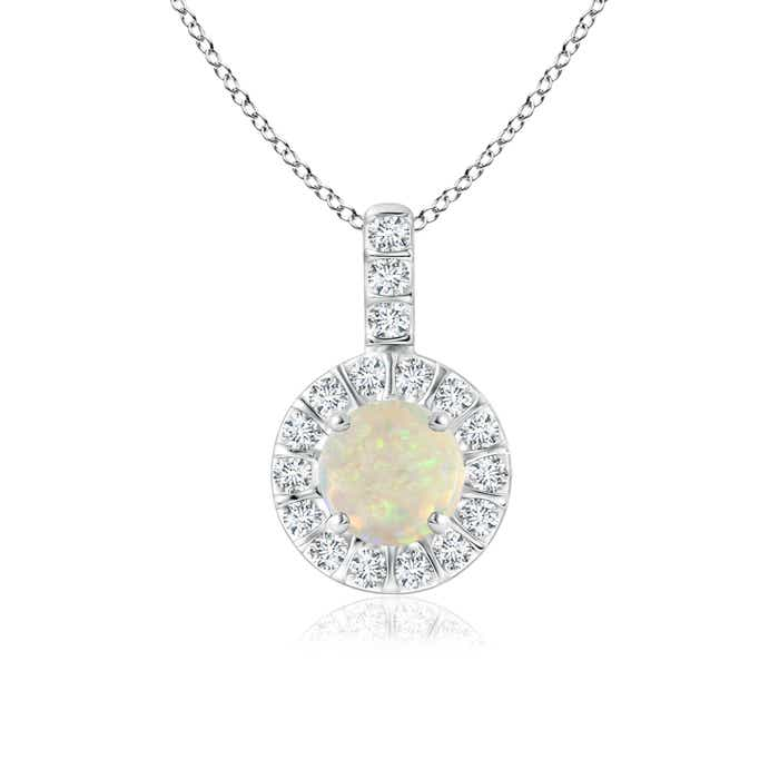 Vintage Opal Halo Pendant with Diamond Bail - Angara.com