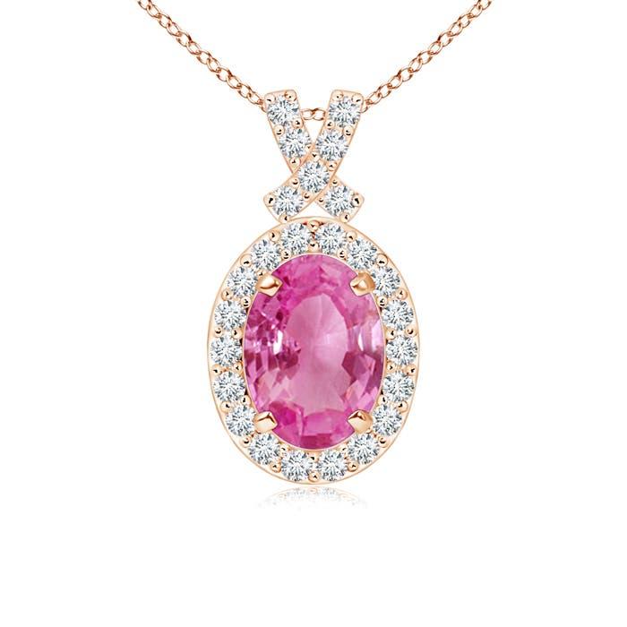 Vintage Inspired Diamond Halo Oval Pink Sapphire Pendant - Angara.com