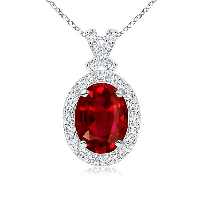 Vintage Inspired Diamond Halo Oval Ruby Pendant (GIA Certified Ruby) - Angara.com