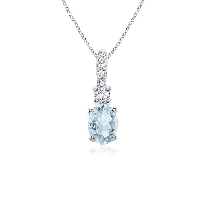 Oval aquamarine diamond pendant necklace silver 14k white gold 18 oval aquamarine diamond pendant necklace silver 14k white aloadofball Image collections
