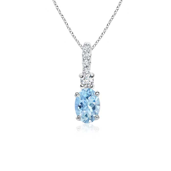 Oval Aquamarine Solitaire Pendant with Diamond Bail - Angara.com