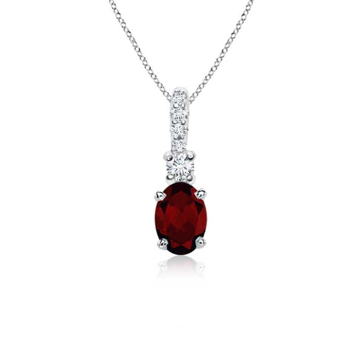 Oval garnet diamond pendant necklace silver 14k white gold 18 oval garnet diamond pendant necklace silver 14k white aloadofball Image collections