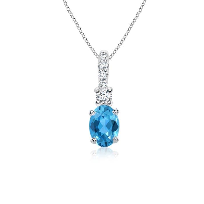 Oval Swiss Blue Topaz Solitaire Pendant with Diamond Bail - Angara.com