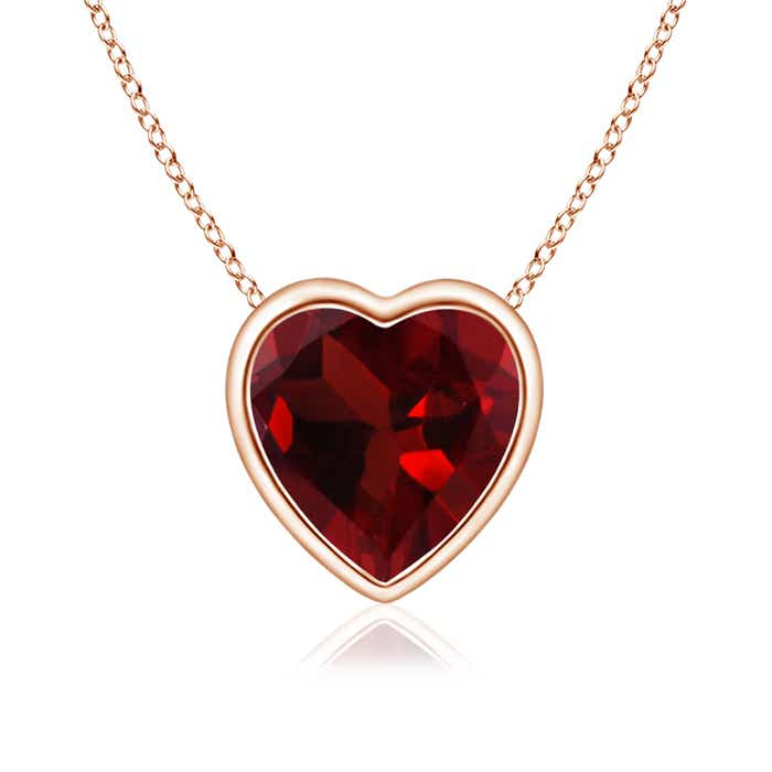 Bezel Set Solitaire Heart Shaped Garnet Pendant - Angara.com
