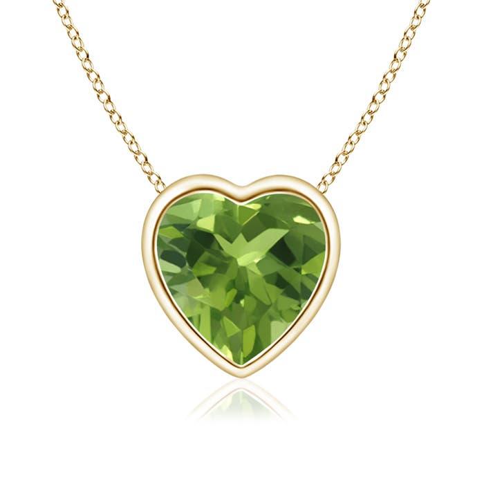 Bezel Set Solitaire Heart Shaped Peridot Pendant - Angara.com