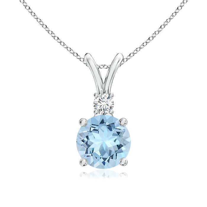 Angara Aquamarine and Diamond Halo Inverted V-Bale Pendant KGhegS