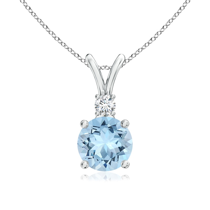 Angara Shell Style Oval Aquamarine and Diamond Pendant jKBe9TC