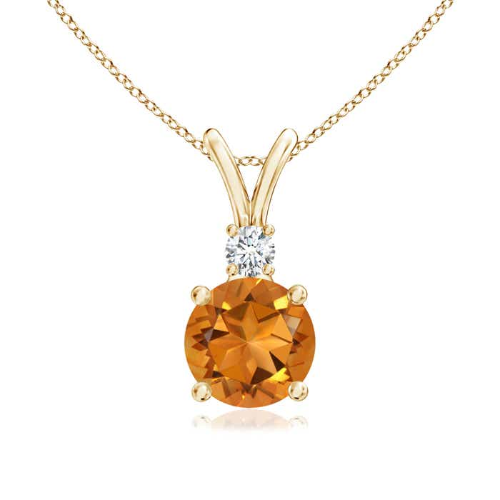 V-Bail Round Citrine Solitaire Pendant with Diamond - Angara.com