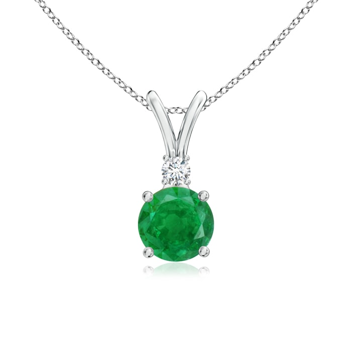 Angara Solitaire Natural Emerald Pendant in Platinum Sa8Ce