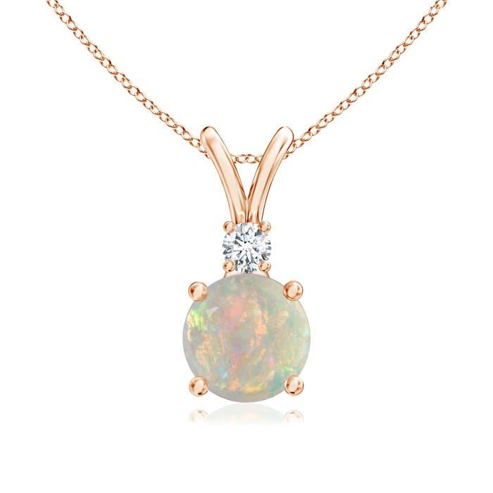 V-Bail Round Opal Solitaire Pendant with Diamond - Angara.com