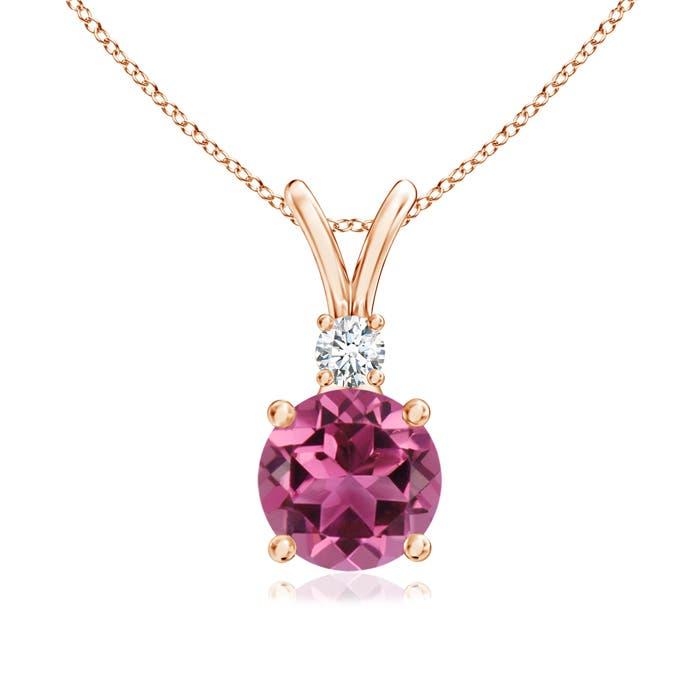 Angara Solitaire Round Pink Tourmaline Pendant with Diamond Bale X7UPfBV