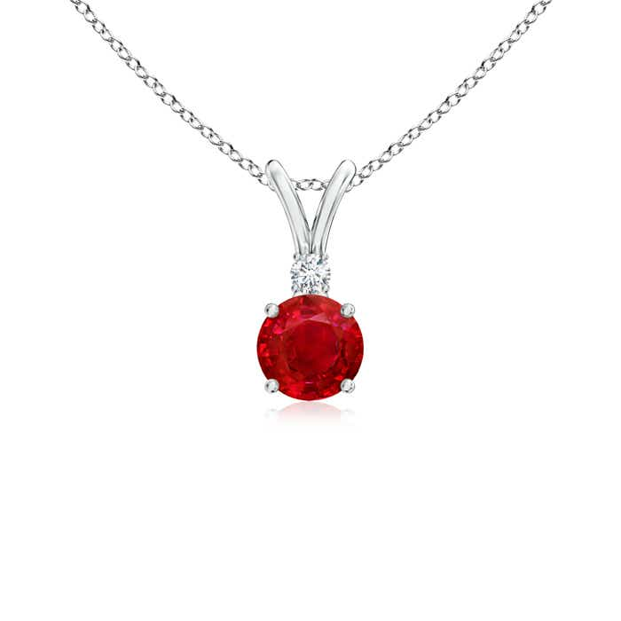 Angara Round Ruby Solitaire V-Bale Pendant with Diamond a2EimMXE