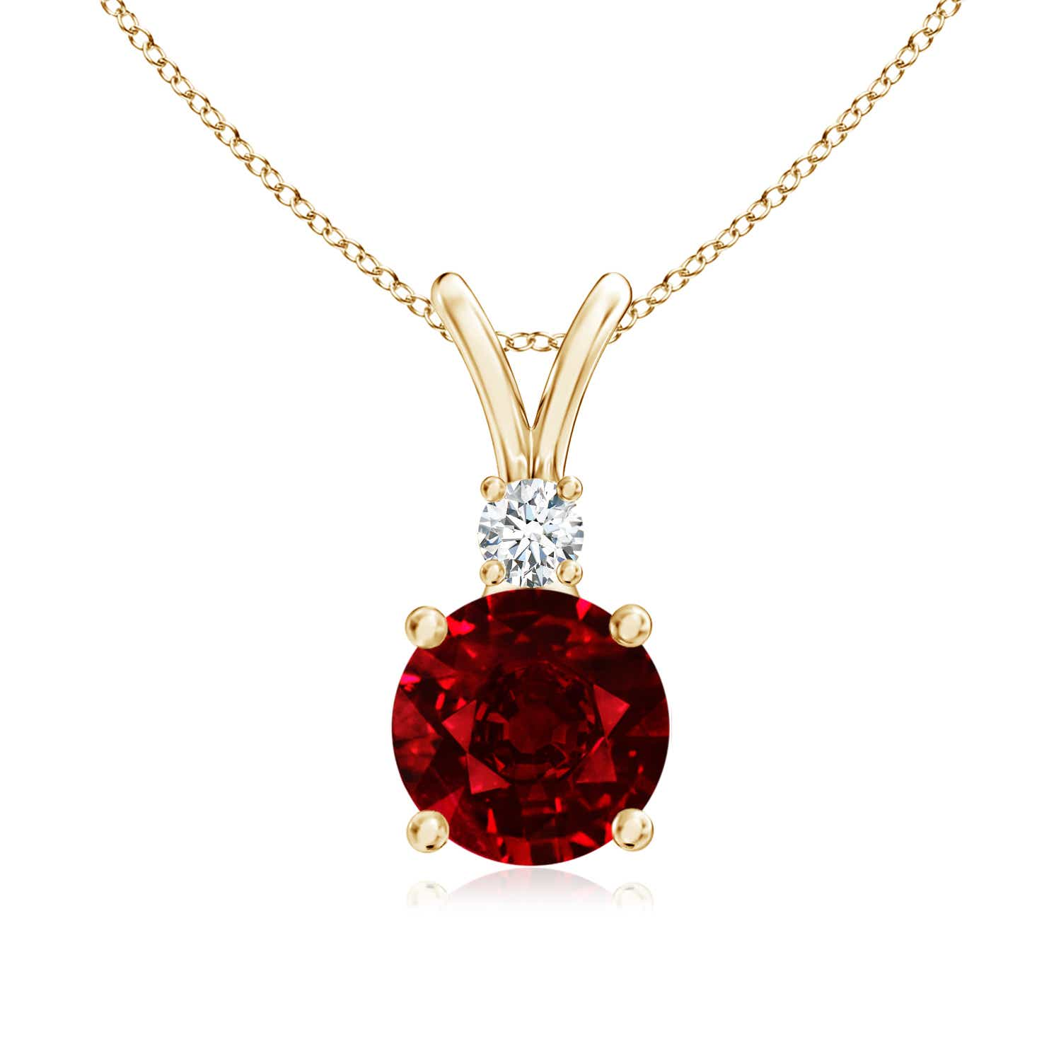 Ruby Solitaire Pendant with Diamond V-Bale (GIA Certified Ruby) - Angara.com