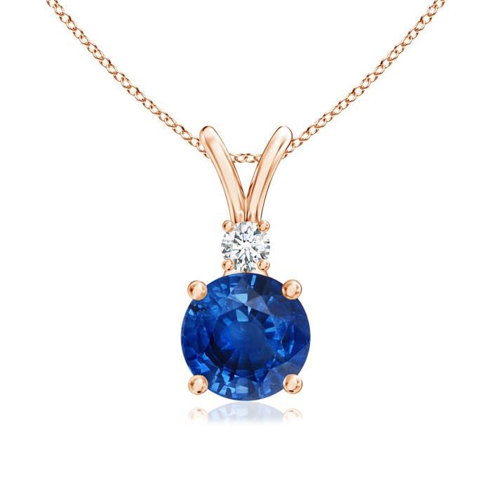 Round blue sapphire solitaire v bale pendant with diamond angara round blue sapphire solitaire v bale pendant with diamond mozeypictures Image collections