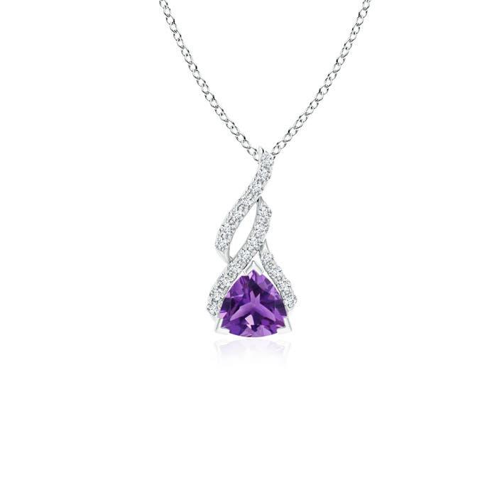 Trillion Amethyst Solitaire Pendant with Diamond Swirl - Angara.com