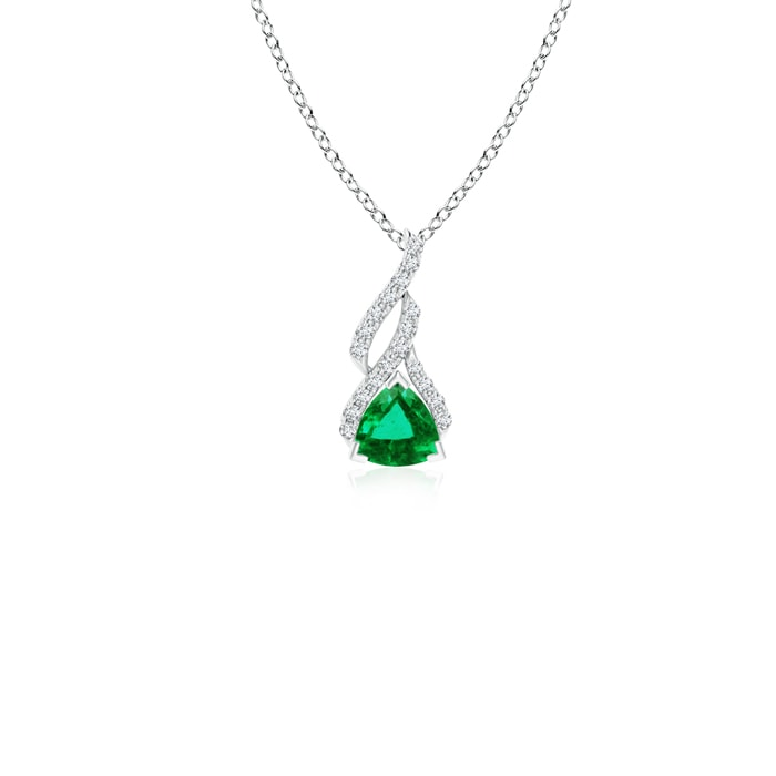 Angara Inverted Pear Emerald Necklace with Diamonds bh1WQ