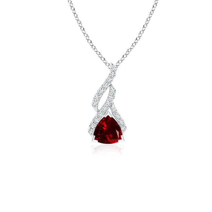 Angara Trillion Ruby Dangling Necklace in 14k White Gold PFWgdDzoS