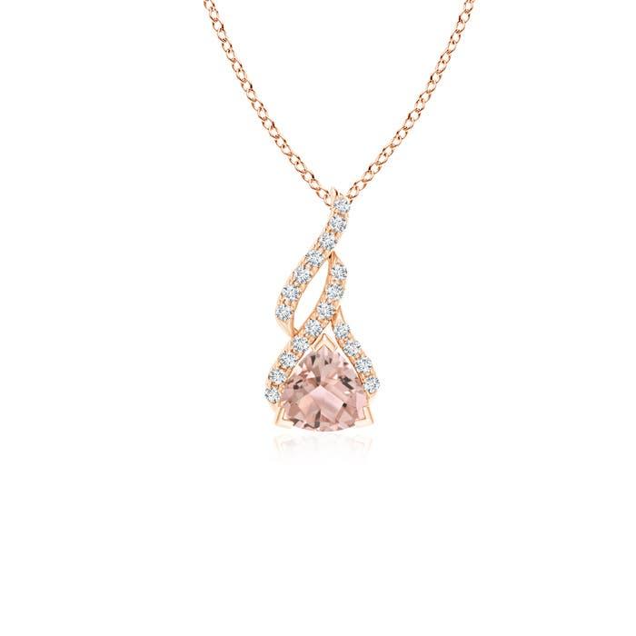 Trillion Morganite Solitaire Pendant with Diamond Swirl - Angara.com
