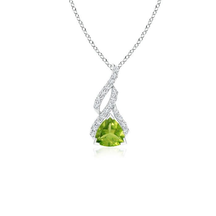 Trillion Peridot Solitaire Pendant with Diamond Swirl - Angara.com