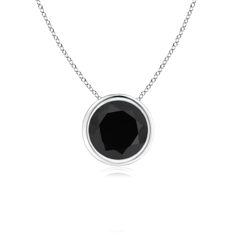 Bezel Set Round Black Onyx Solitaire Pendant | Angara