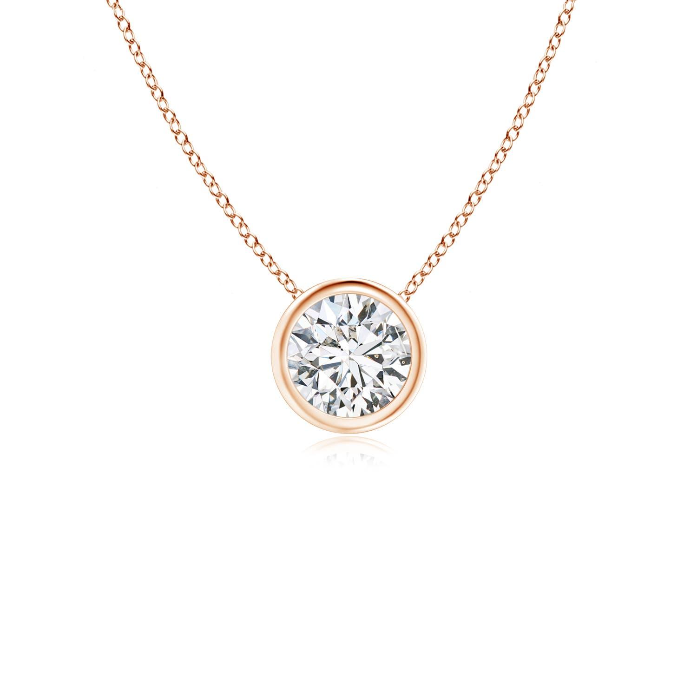 Bezel Set Round Diamond Solitaire Pendant - Angara.com