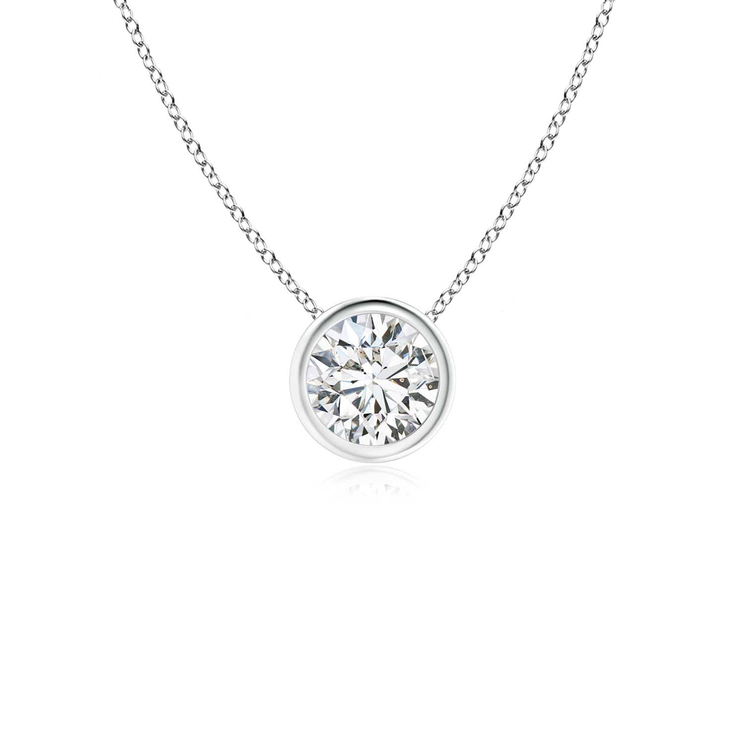 Diamond pendant necklaces angara bezel set round diamond solitaire pendant audiocablefo