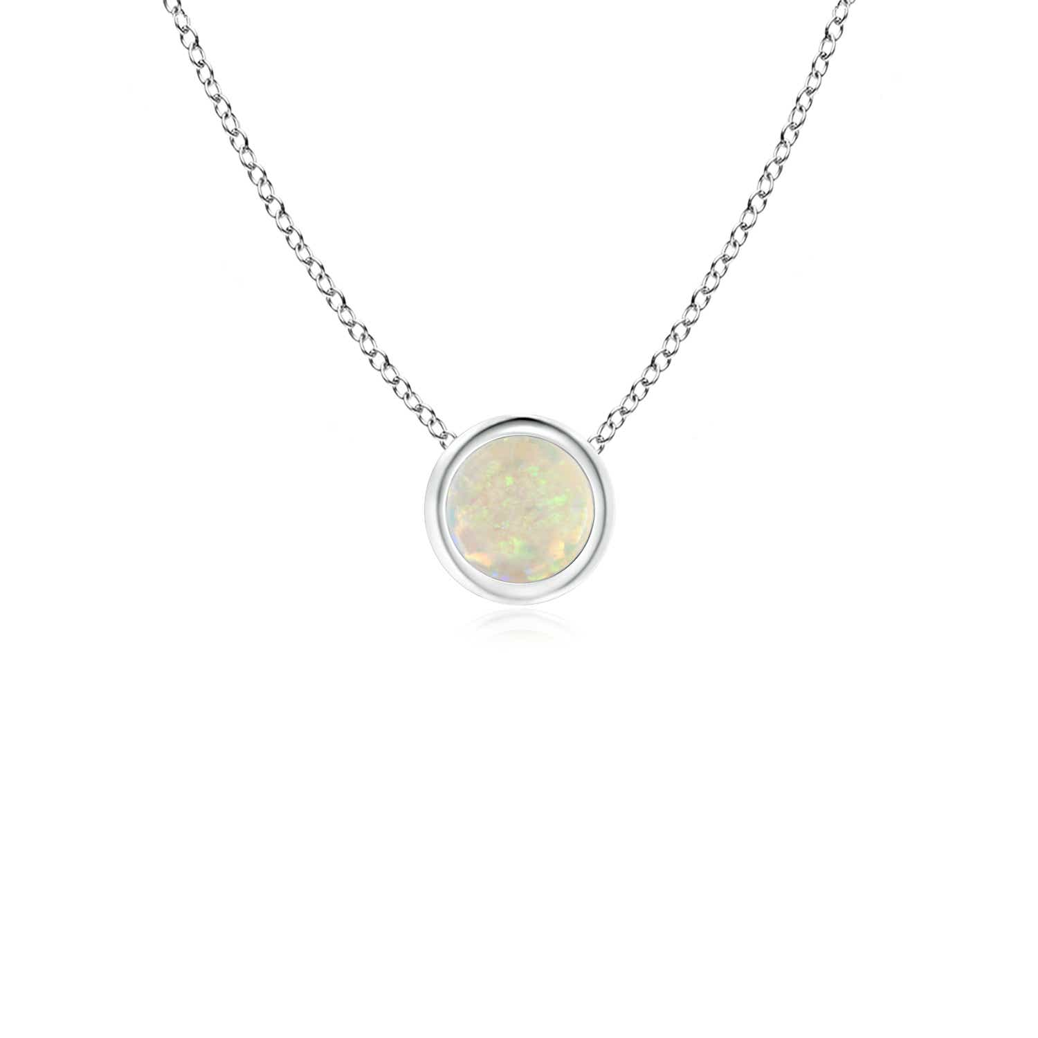 Bezel set round opal solitaire pendant necklace with 18 chain 14k bezel set round opal solitaire pendant necklace with aloadofball Image collections