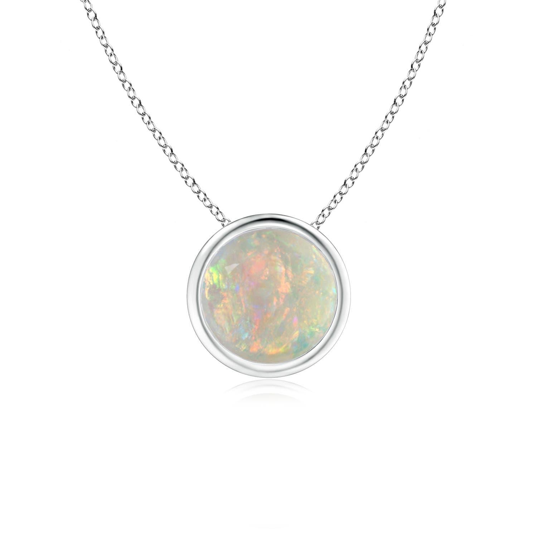 Angara Round Opal Solitaire Pendant with Diamond Bale UZx34GcEg