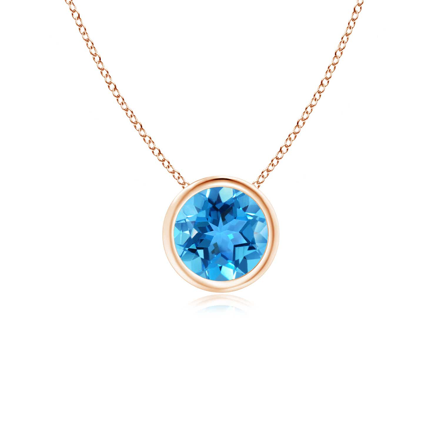 Angara Solitaire Round Swiss Blue Topaz Pendant with Diamond Bale hsZyR