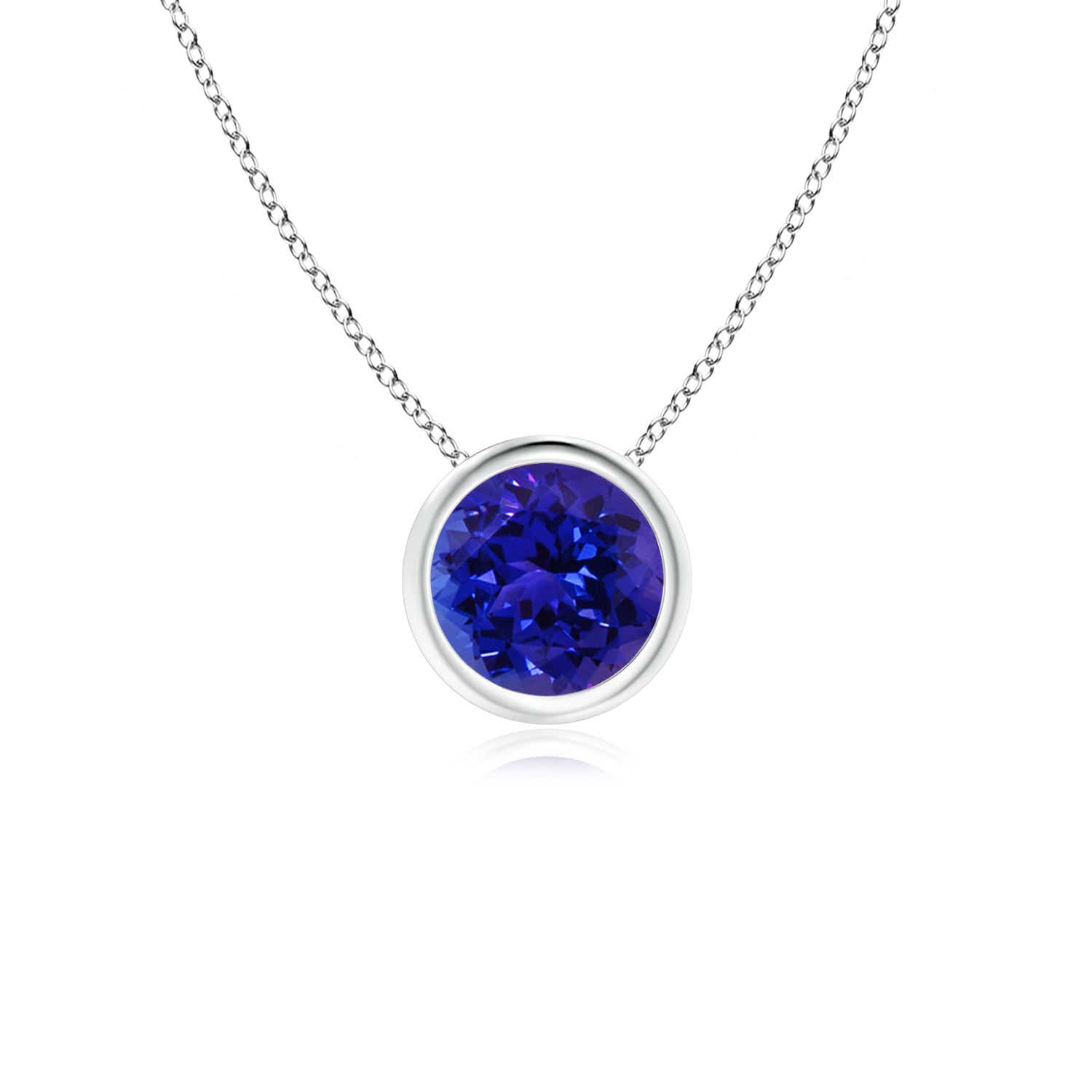 Angara Blue Sapphire Station Necklace in Yellow Gold for Women
