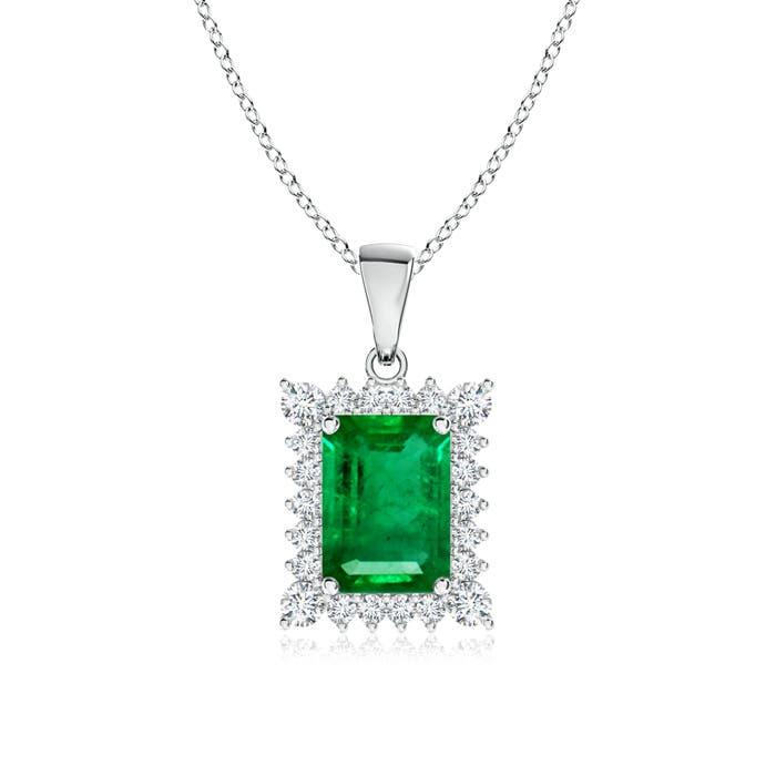 Vintage Diamond Halo Emerald Cut Emerald Pendant - Angara.com