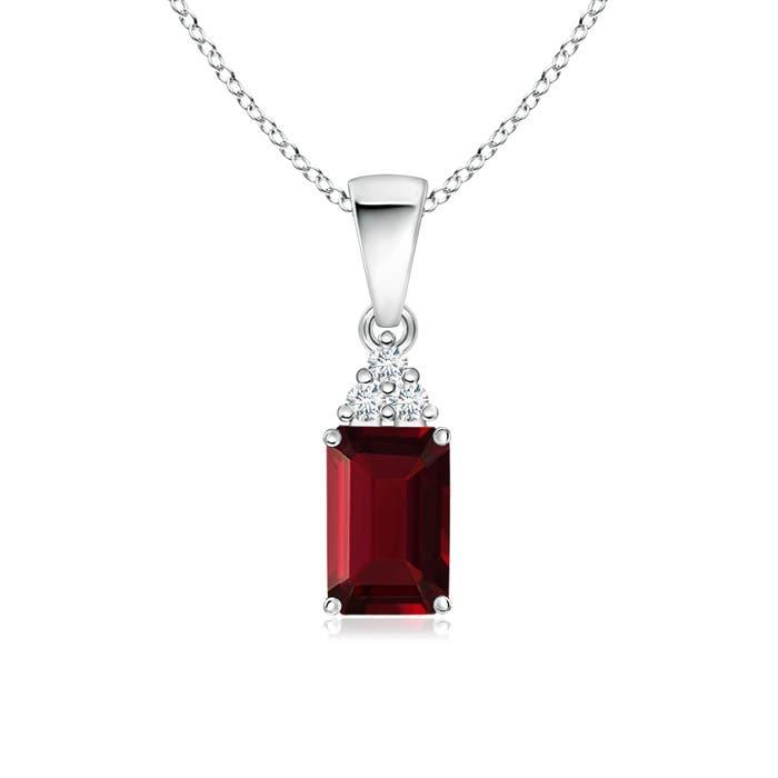 Prong Set Emerald Cut Garnet Pendant with Diamond - Angara.com