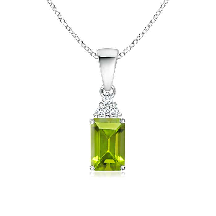 Prong Set Emerald Cut Peridot Pendant with Diamond - Angara.com